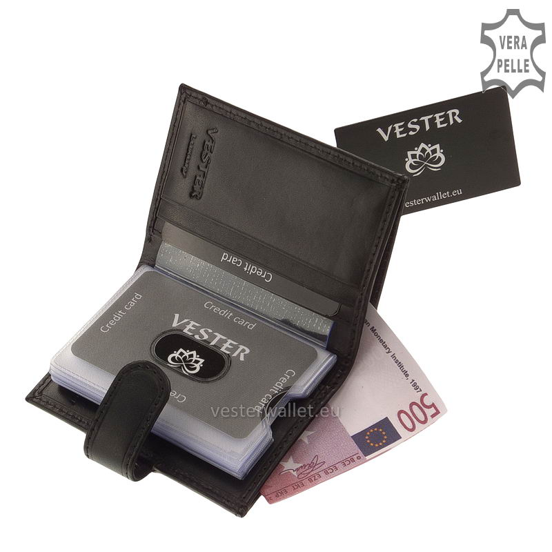 Elegáns Vester bőr kártyatartó VLN808 fekete